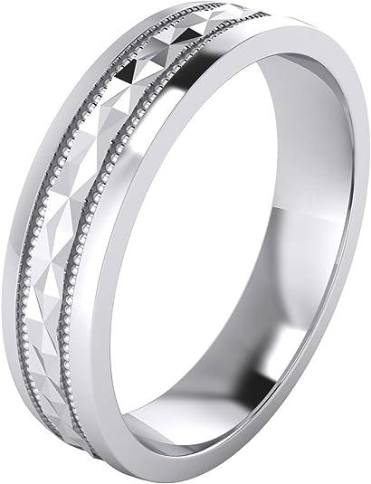 Milgrain Hochzeit Ring Massives Sterlingsilber 5mm Band Größe M Z