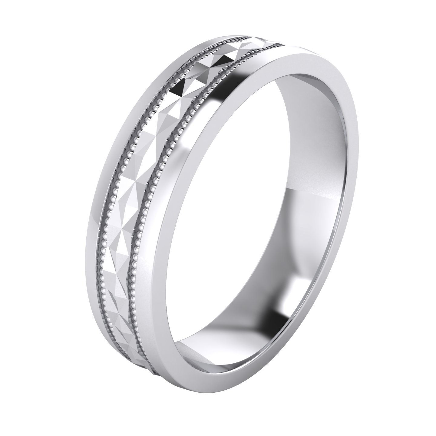 (5 Styles) Heavy Solid Sterling Silver Wedding Band Diamond Cut Patterned Ring Comfort Fit Unisex THELANDA HC-C-925