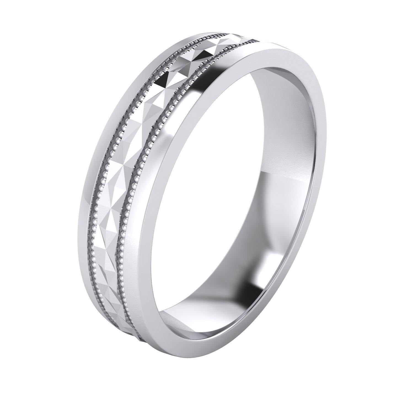 LANDA JEWEL Heavy Sterling Silver 5mm Unisex Wedding Band Diamond Cut Pyramid Patterned Ring Comfort Fit Polished (7)