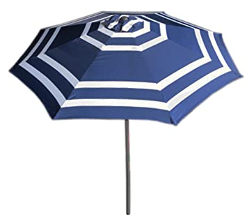 VMI 9u0027 Wide Striped Aluminum Adjustable Umbrella With Crank, Navy Blue And  White