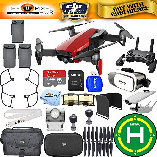 DJI Mavic Air (Flame Red) #CP.PT.00000147.01 EXTREME PRO BUNDLE IN STOCK With Landing Pad, 32GB Micro SD Card, Large Case Plus Much More (3 Batteries Total)