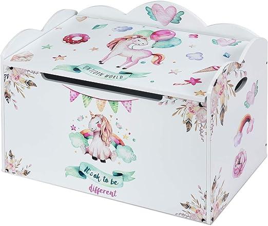 Costway - Caja de juguetes con tapa, caja de juguete para niños, caja de juegos, caja de almacenaje, muebles para niños, acero de color: Amazon.es: Juguetes y juegos