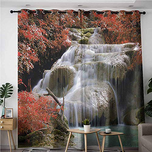 (AndyTours Grommet Window Curtains,Waterfall,for Bedroom Grommet Drapes,W72x96L,Red White and Pale Brown)