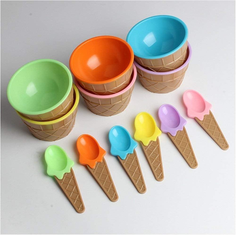 Tazones de Sopa Cereales 6 piezas 6 tazas de gofres de helado de color en forma de juego de cuencos y cucharas de postre for niños, taza de helado de plástico de doble espesamiento, vajilla creativa f