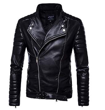 FAMLYJK Chaqueta De Cuero Negra Acolchada para Hombres | Elegante Chaqueta De Racer De Moto para Hombre: Amazon.es: Deportes y aire libre