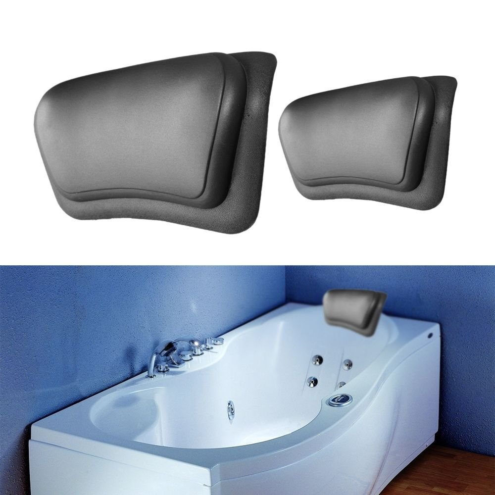 VIPASNAM-Black Bathtub Pillow Headrest Waterproof PU Bath Pillows Bathroom Supplies