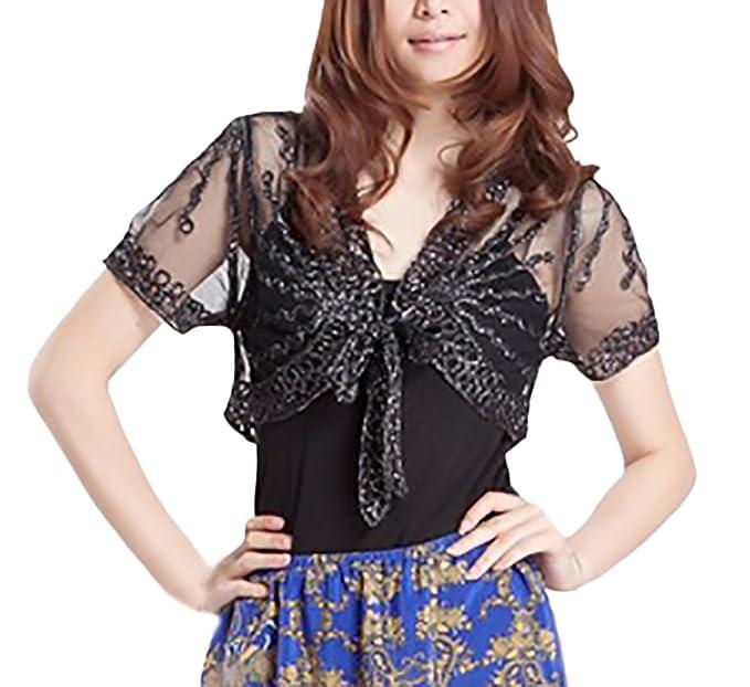 16a41105bbe20c Bolero Damen Elegant Sommer Kurzarm Transparent Spitze Netz Garn Cardigan  Mode Party Stil Casual Spitzenbolero Jacket