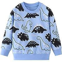 Niños dinosaurio Jumper Sudaderas manga larga camiseta cuello redondo suéter niño ropa de algodón Tops edad 1-7 años