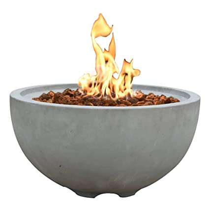 "Modeno 26.6"" Propane Fire Pit Table Outdoor Patio Furniture Fire Bowl,  Concrete with Stainless - Amazon.com : Modeno 26.6"