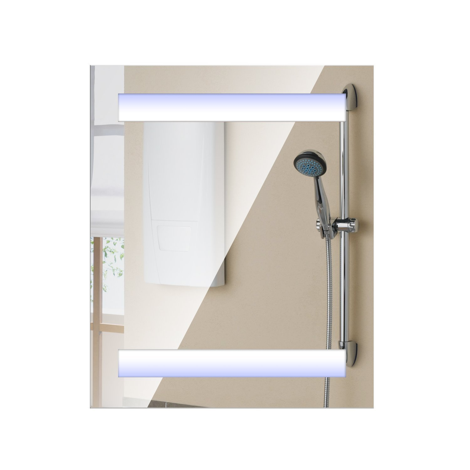 "HOMCOM Vertical 32"" LED Illuminated Bathroom Wall Mirror Medicine Cabinet - Dual Strip LEDs"