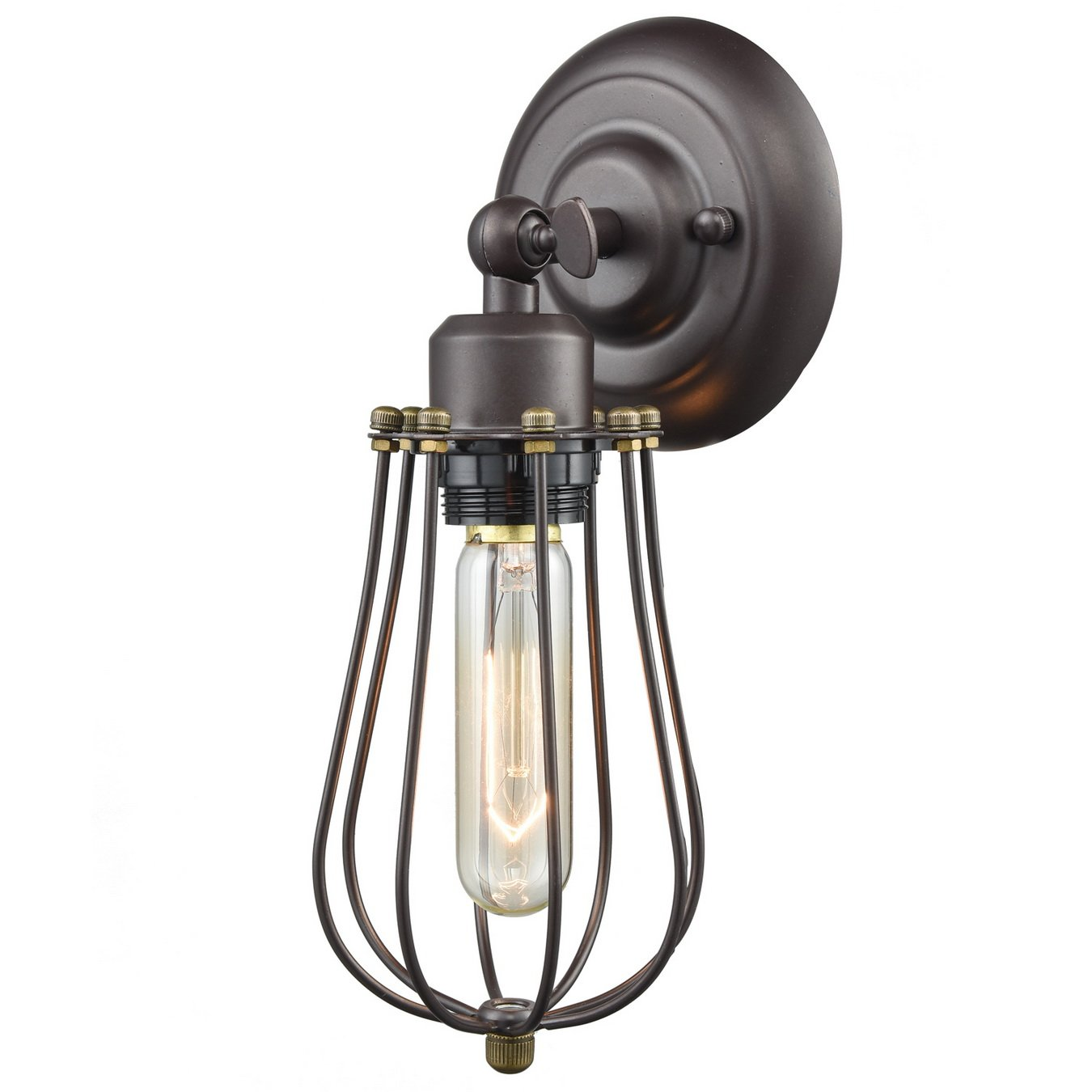 YOBO Lighting Industrial Edison Mini Wire Cage Oil Rubbed Bronze 1-light Wall Sconce by YOBO Lighting