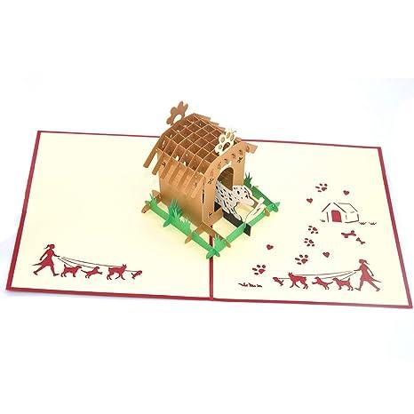 Medigy 3D Pop Up tarjetas de felicitación, caseta de perro y perro en blanco tarjetas