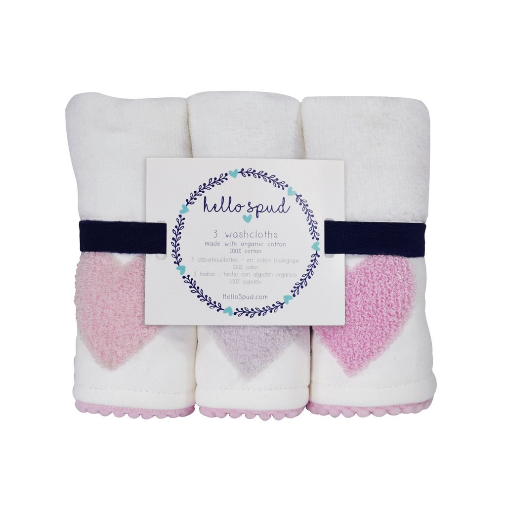 Amazon.com : Hello Spud - Boucle Embroidered Pink Hearts Washcloth 3-Pack Organic Cotton : Baby