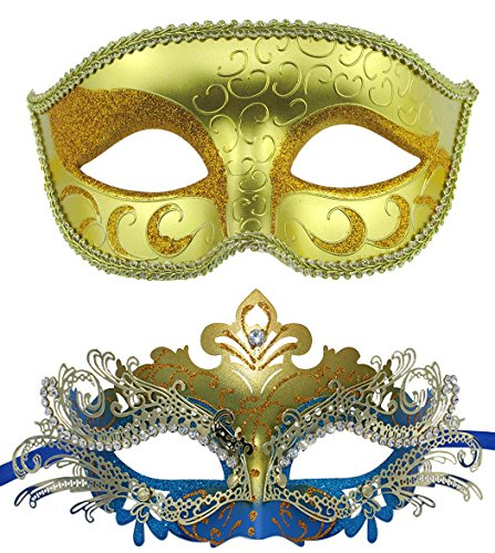 Couple Masquerade Metal Masks Venetian Halloween Costume Mask Mardi Gras Mask (Gold+Gold-Blue)