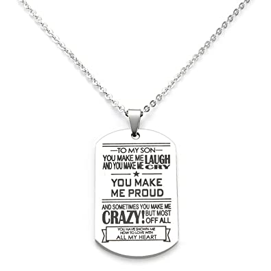to my son dog tag letter pendant necklace make laugh proud dog tag