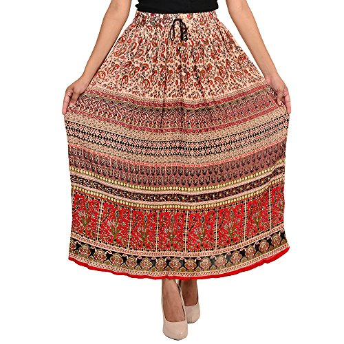 Shree Ram Impex Women's Jaipuri Rayon Skirt Ankle Length 36 Inches (Multicolored)