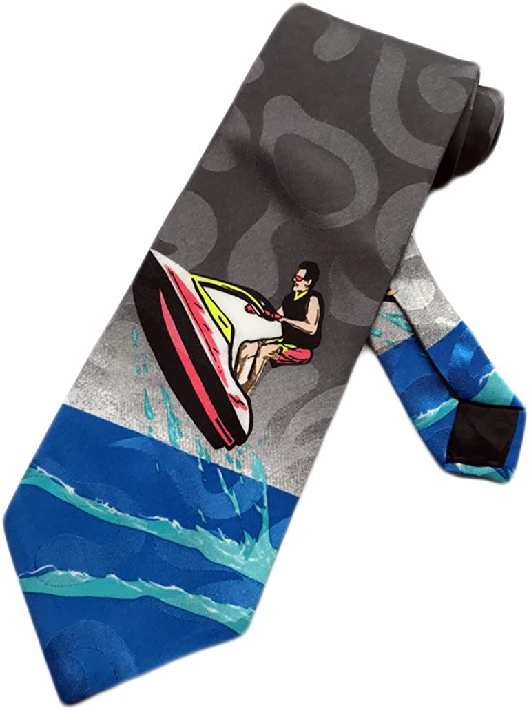 Blue One Size Neck Tie Italian Mens Jet Ski Water Sports Skiing Necktie