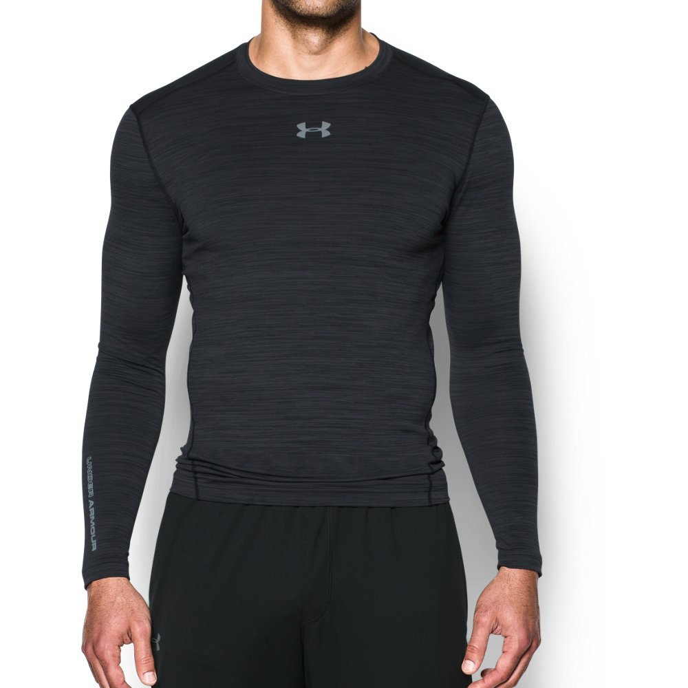 Under Armour Men's ColdGear Armour Twist Compression Crew, Black/Steel, Medium by Under Armour (Image #1)