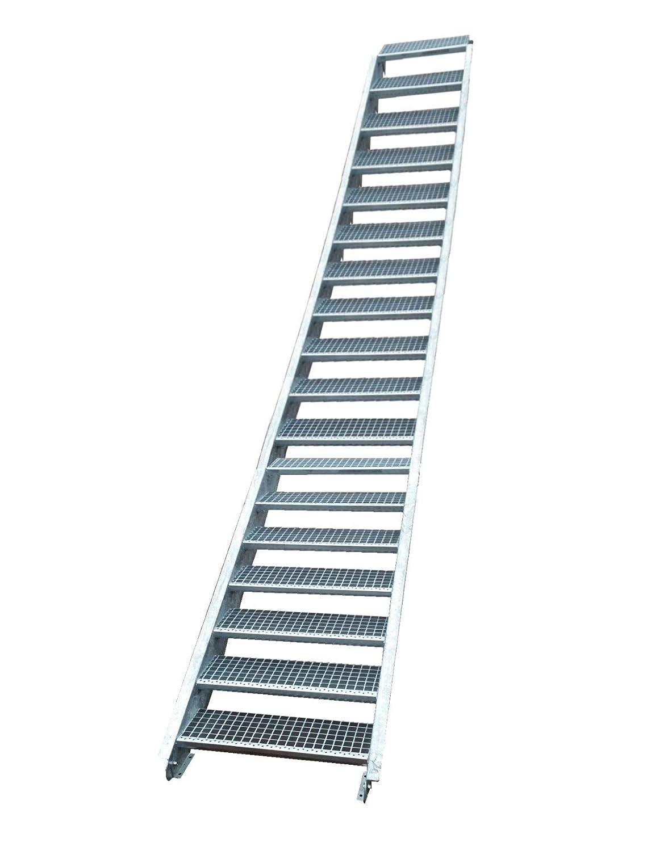 Stahltreppe Industrietreppe Aussentreppe Treppe 18 Stufen-Stufenbreite 110cm //Geschossh/öhe variabel 299-360cm verzinkt Gitterrosttreppenstufen Tiefe 24cm