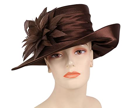 e9ceb2c3e4cac Ms Divine Women s Satin Year Round Church Derby Hat Dress Formal Hats  HL59  (Brown