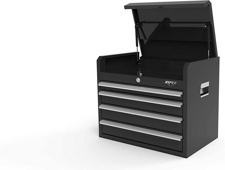 Viper Tool Storage 26-Inch 4-Drawer Steel Top Chest, Black (V2604BLC)