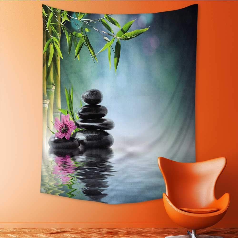 Auraisehome Vertical Version Tapestry Mouse Pad Unique ed Mousepad Spa Tower Stone and Hibiscus with BambooOn The Water Blurred Stitc Throw, Bed, Tapestry, or Yoga Blanket 70W x 93L INCH