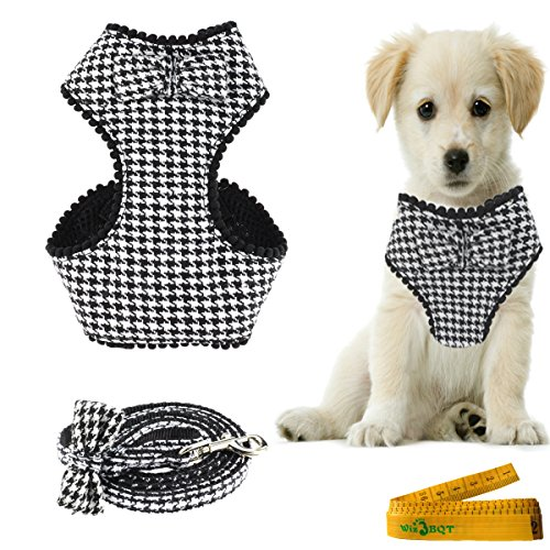 Houndstooth Dog Cat Pet Harness and Matching Leash Set with Bow Tie for Dogs Cats 2# (Small) (Houndstooth Leash)