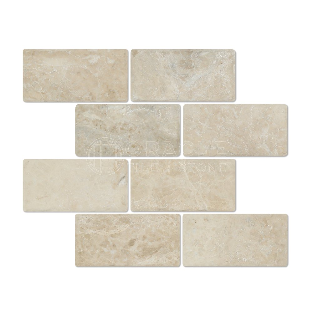 Cappuccino Marble 3 X 6 Subway Tiles, Tumbled (Lot of 50 Sq. Ft.)