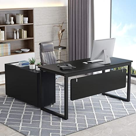 Tribesigns L-Shaped Computer Desk, 55 inch Large Modern Executive Office  Desk Business Furniture with File Cabinet and Storage Shelves for Home  Office ...