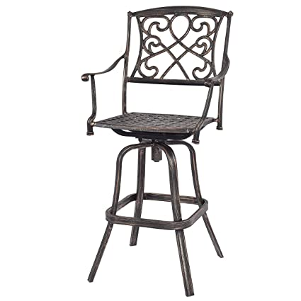 Amazon Com Cast Aluminum Swivel Bar Stool Patio Furniture Antique