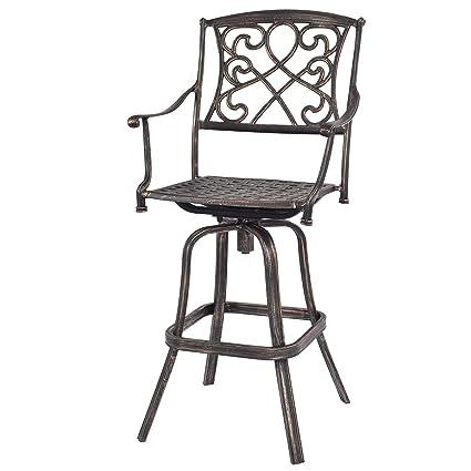Superb Amazon Com Cast Aluminum Swivel Bar Stool Patio Furniture Squirreltailoven Fun Painted Chair Ideas Images Squirreltailovenorg