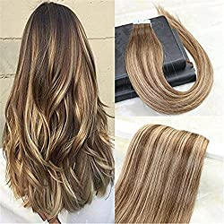 """HairDancing 40 Pcs 100 Gram Ombre Balayage Hair Color #4 To Color #27 Mixed Color Tape In Skin Weft Remy Human Hair Extensions 100% Real Human PU Hair 22""""#4/#27/#4"""