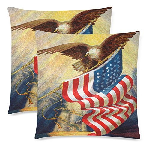 InterestPrint Independence Day 4th of July Throw Pillowcase Protector 18x18 Twin Sides, Bald Eagle and American Flag Zippered Pillow Cushion Case Cover Decorative for Couch Bed, Set of 2