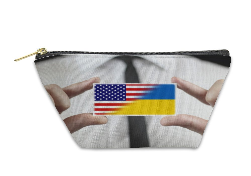 Gear New Accessory Zipper Pouch, Businessman Holding A Business Card With UKraine And USA Flag, Small, 5998048GN