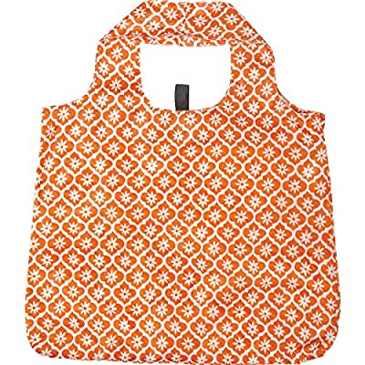 rockflowerpaper Women's Blue Green Orange Printed Ikat Floral Karma Bag Pack of 3 Reusable Grocery Shopping Bag, Eco-friendly Convenient Machine Washable Everyday Totes