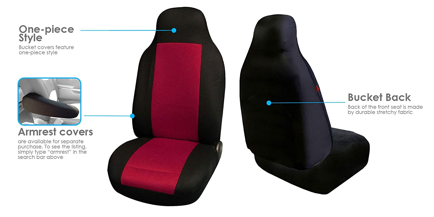 FH Group FH-FB102102 Classic Cloth Pair Bucket Seat Covers Black Color