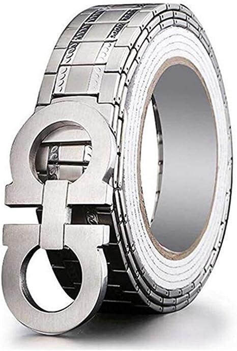 ZYT Difesa Personale Cintura da Uomo Acciaio Inossidabile S Buckle Head attivit/à Commerciale Cintura di Ruggine ,115CM 95-135CM