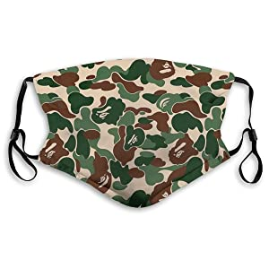 Dust Masks Full Face Mask Bape Camo Ski Mask,Dust Mask,Hat Neck Gaiter Headwear Mouth Masks With Two Replaceable Filters