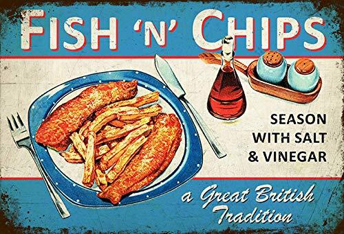 Cartel de Chapa genérica 30 x 20 cm Fish n Chips Imbiss ...