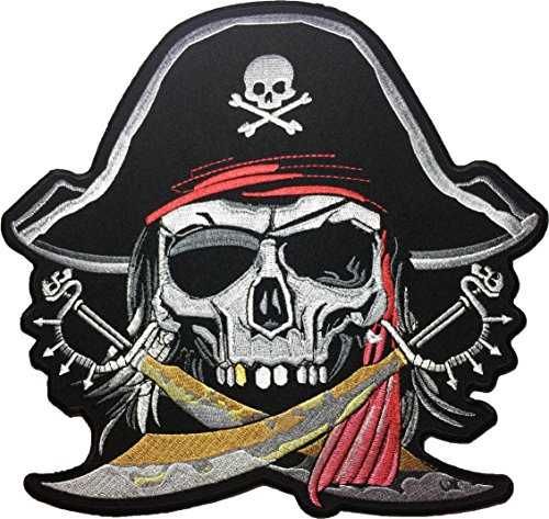 [Large Size] Papapatch Pirate Skull Captain Ghost Cross Swords Red Turban Hat Embroidered Sewing Iron on Patch (SKULL-PIRATE-LARGE) - Pirate Ghosts