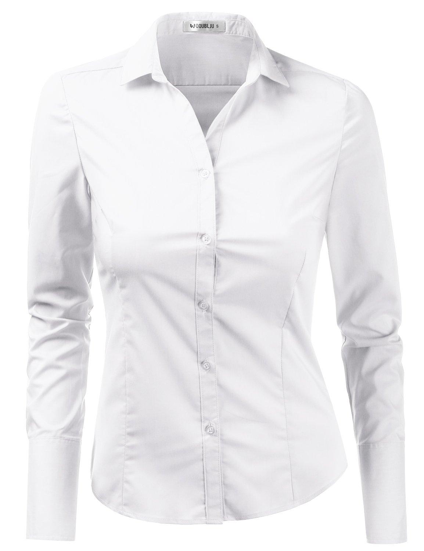 Doublju Womens Slim Fit Business Casual Long Sleeve Button Down Dress Shirt White Medium