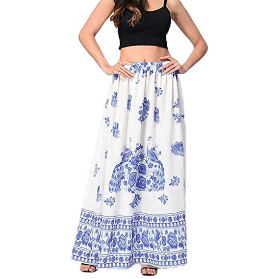 f3702608ea9 Sixcup Women s Floral Printed Style Elastic Waist Band Long Frill Maxi Skirt  Womans Ladies Indian Boho