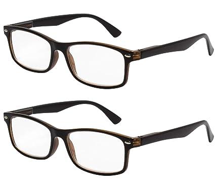 TBOC Gafas de Lectura Presbicia Vista Cansada - (Pack 2 Unidades) Graduadas +2.50 Dioptrías Montura de Pasta Bicolor Negra y Marrón Hombre Mujer ...
