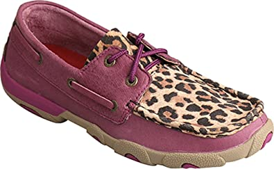 Twisted X Womens Purple/Leopard Driving Moccasins Purple 5.5 M