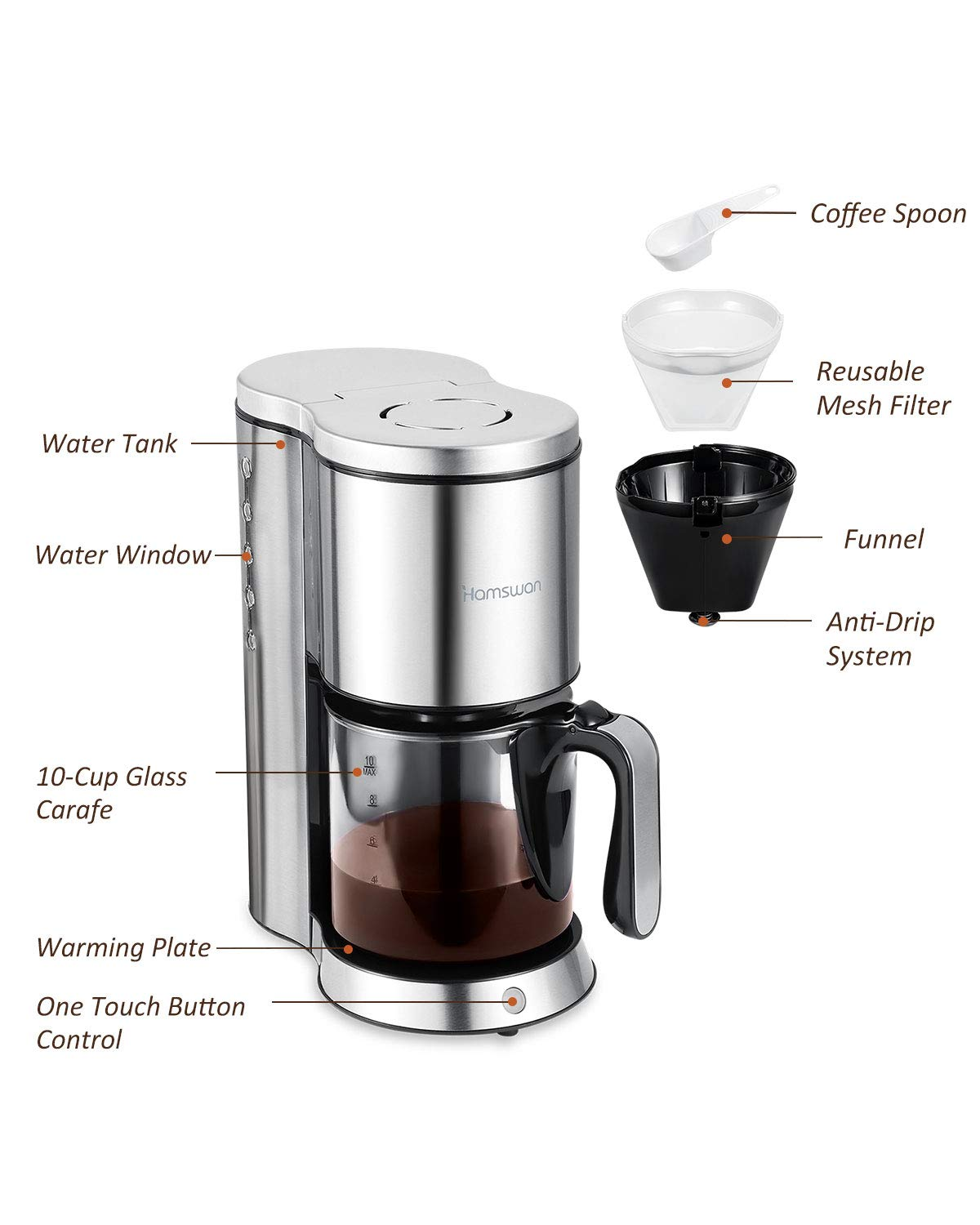 Drip Coffee Maker, HAMSWAN AD-103 Stainless Steel Coffee Maker Coffee Pot, Small 10 Cup Coffee Machine with Glass Thermal Carafe, Insulated, Keep Warm, Automatic Shut Off for Single Serve & House Use by HAMSWAN (Image #3)