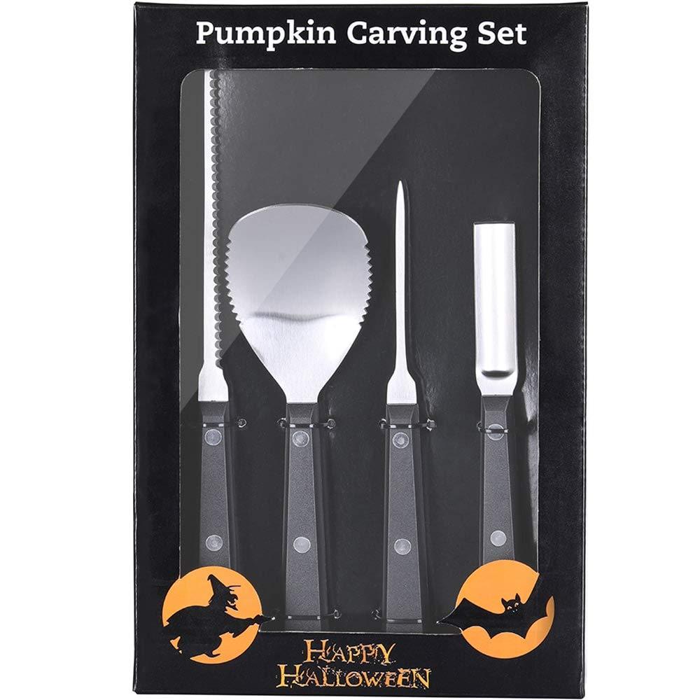 HelaJoy Pumpkin Carving Kit - Halloween Pumpkin Carving Tools with 10 Free Pumpkin Carving Stencils and Pumpkin Faces to Carve, Stainless Steel Cool Pumpkin Carvings Kit - 4 Piece Set(Set of 4)