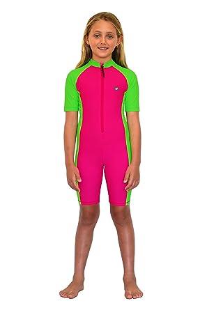 56c0ff8926 Sun Protection Swimsuits Girls Full Body Swimsuit Sunsuit UV Protection  Swimwear UPF50+ Rose Lime - Multicoloured -: Amazon.co.uk: Clothing