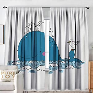 "NUOMANAN Curtains for Bedroom Whale,Sea Mammal Caricature Swimming in The Ocean and Splashing Water with Seagull,Blue and White,Darkening and Thermal Insulating Draperies 72""x96"""