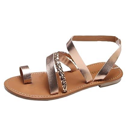 0a03d688d614 Amazon.com  ShenPr Women s Cross Toe Bandage Strap Summer Fashion Design  Low Flat Heel Beach Sandals Sale Clearance (8.5