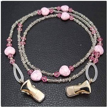 5ce295f532c Heart Beads Eyeglass Holder Clip Sunglass Chain Necklace Eyewear Retainer  Cord Beaded Lanyards for Keys ID